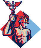 Mercury Holding Caduceus Staff Retro Royalty Free Stock Image
