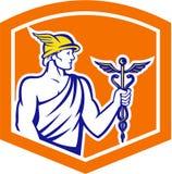 Mercury Holding Caduceus Staff Shield rétro illustration de vecteur