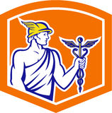 Mercury Holding Caduceus Staff Shield Retro- Lizenzfreie Stockfotos