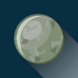 Mercury planet icon. With long shadow. Space view and texture map of  the globe Mercury. Solar system. Vector illustration in flat style Royalty Free Stock Photo