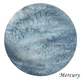 Mercury Planet watercolour illustration. Hand drawn on white background, isolated.