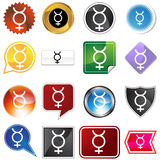Mercury Planetary Sign Icon Set Stock Photos