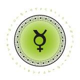 Mercury planety symbolu tło Obrazy Stock