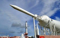 Mercury-Redstone raket på skärm på Kennedy Space Centre fotografering för bildbyråer
