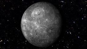 Mercury Rotating em uma estrela movente Backgrund Loopable vídeos de arquivo