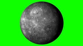 Mercury Rotating en un fondo verde sólido Loopable ilustración del vector