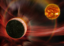 Mercury and the Sun. Fantasy image of Mercury is orbiting close to an old erupting Sun. Elements of this image furnished by NASA Stock Images