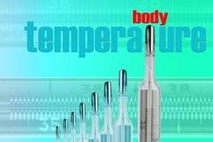 Mercury termometrar och KROPP TMPERATURE fotografering för bildbyråer