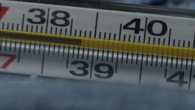 Mercury thermometer close-up. high body temperature