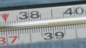 Mercury thermometer close-up rotating. high body temperature 38 celsius