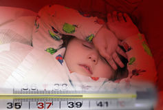 Mercury thermometer and a little sick girl Stock Image