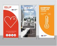 Mercury thermometer, Old phone, Heart roll up. Mercury thermometer modern business roll up banner design template, Old phone creative poster stand or brochure Stock Images