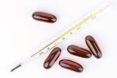 Mercury Thermometer And Pills foto de stock