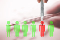 Mercury thermometer in situation with green and red silhouettes. Royalty Free Stock Images