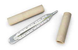 Mercury thermometer on a white. Stock Photo