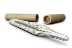 Mercury-thermometerclose-up stock illustratie