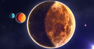 Mercury, venus en aarde in zonnestelsel royalty-vrije illustratie