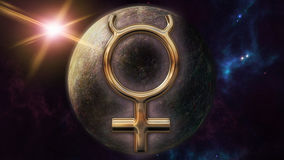 Mercury zodiac horoscope symbol and planet. 3D rendering. 3D rendering image of a brilliant gold Mercury zodiac horoscope symbol. An astrology sign on the Stock Image