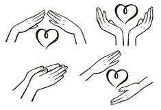 Mercy. B&W mercy and kindness signs by hands Royalty Free Stock Photography
