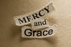 Mercy and Grace. Picture of religious concept with words mercy and grace Royalty Free Stock Photos