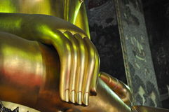 Mercy hand of big golden Buddha Sculpture Royalty Free Stock Image