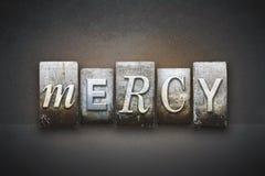 Mercy Letterpress. The word MERCY written in vintage letterpress type Royalty Free Stock Image