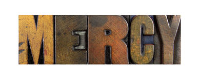 Mercy. The word MERCY written in vintage letterpress type Royalty Free Stock Photography
