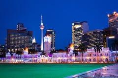 Merdeka kwadrat przy nocą, Kuala Lumpur, Malezja Fotografia Royalty Free