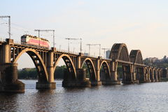Merefa-Kherson Bridge. Railway bridge across the Dnieper River in the city of Dnipropetrovsk Royalty Free Stock Photo