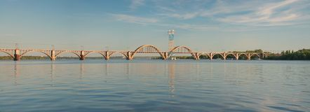 `Merefa-Kherson` railway bridge. Across the Dnieper River in Dnepropetrovsk Ukraine, urban landscape royalty free stock photo