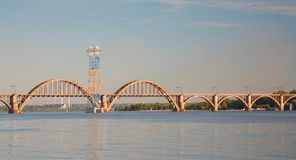 `Merefa-Kherson` railway bridge. Across the Dnieper River in Dnepropetrovsk Ukraine, urban landscape royalty free stock photos