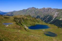 Meren in de bergen van de Kaukasus met alpien weiden en bos worden omringd dat stock afbeelding