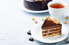 Merengue hazelnut chocolate cake Royalty Free Stock Images