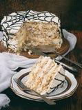 Merengue kaka med kräm och jordnötter Royaltyfria Bilder