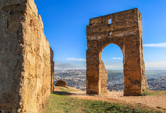 Merenid Fortress with blue sky in Fes, Morocco Stock Photos