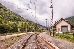 Merens les vals train station. Ariege France royalty free stock photo