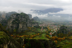 Mereora. A panoramic photo of the valley of meteora shot from the huge meteoro Royalty Free Stock Photos