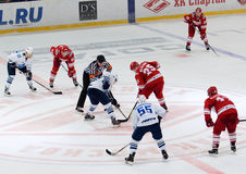 A. Mereskin (25) on faceoff. MOSCOW - JANUARY 15: A. Mereskin (25) on faceoff during hockey game Spartak vs Admiral on Russian KHL premier hockey league Stock Photo