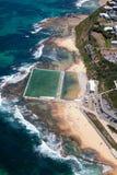 Merewether浴-鸟瞰图-新堡澳大利亚 库存图片