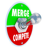 Merge Vs Compete Toggle Switch Combine Companies Bigger Business. Merge Vs Compete words on a toggle switch to illustrate combining businesses to create a new Stock Photography
