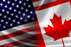 Merged Flag of Canada and USA. 3D rendering of a merged Canadian-USA flag on satin texture. Concept of the mutually influential relations between the two Royalty Free Stock Photo