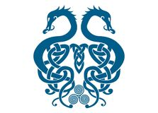 Merged Viking Dragons. Traditional shield cover or traditional norse folklore ornaments vector illustration