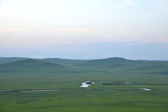 Mergel Riverside Golden Horde Khan Mongolian steppe tribes. Inner Mongolia Hulunbeier China's first Qushui in mergel Golden Horde Khan Mongolian tribes riverside Stock Photo