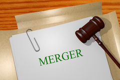 Merger concept. Merger Title On Legal Documents Royalty Free Stock Images