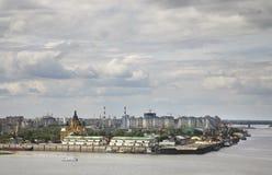 Merger of Oka and Volga rivers in Nizhny Novgorod. Russia.  Stock Photography