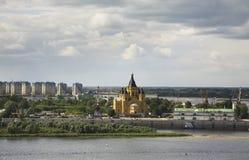 Merger of Oka and Volga rivers in Nizhny Novgorod. Russia Stock Photography