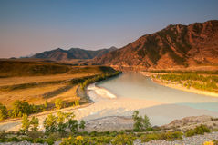 Merger of the two great rivers of Altai. Chuya and Katun Stock Images