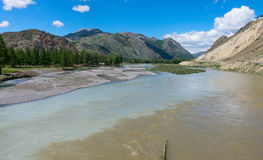 The merger of two mountain rivers. In Altai Royalty Free Stock Photography
