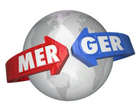Merger Word Arrows Around World Combining Companies Business. Merger word on arrows around the world to illustrate combining international companies to create a Royalty Free Stock Image