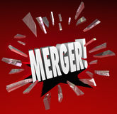 Merger Word Breaking Story Smash Through Glass Big News Update. Merger word breaking through red glass to illustrate surprise at a news update about companies Royalty Free Stock Photos